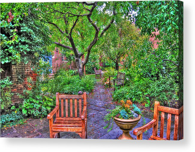 Greenwich Village Acrylic Print featuring the photograph St. Luke Garden Sanctuary by Randy Aveille