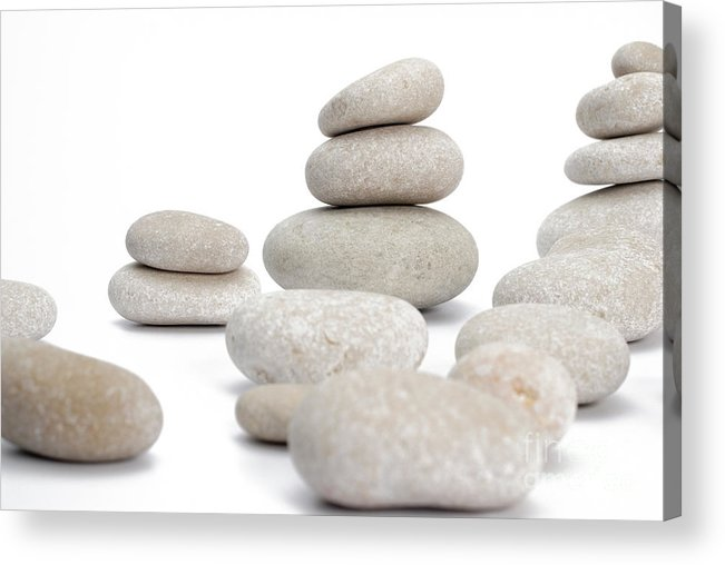 Stability Acrylic Print featuring the photograph Stacks Of Smooth Pebble Stones by Sami Sarkis