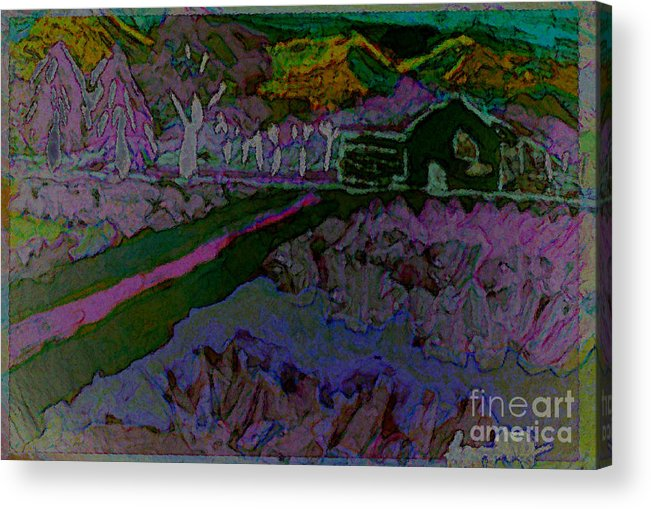 Landscape Acrylic Print featuring the painting Strawberry Fields by Ayyappa Das