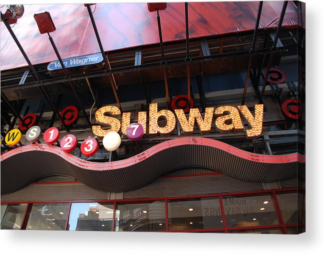 Neon Acrylic Print featuring the photograph Subway by Rob Hans