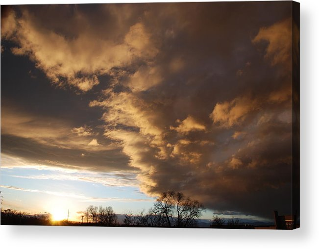 Sunset Acrylic Print featuring the photograph Sunset At The New Mexico State Capital by Rob Hans