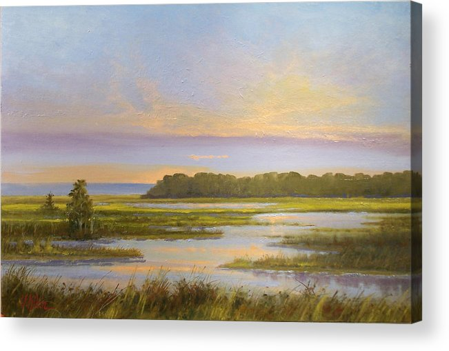 Landscape Acrylic Print featuring the painting Sunset Over Kootenai by Dalas Klein