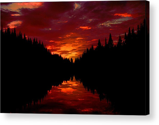 Silhouette Acrylic Print featuring the photograph Sunset Over Wetlands by Roger Soule