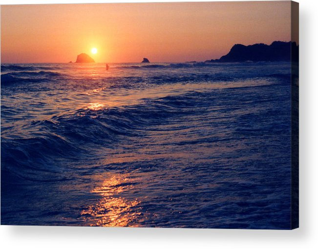 Sunset Acrylic Print featuring the photograph Sunset Swimmer At Zipolite by Lyle Crump