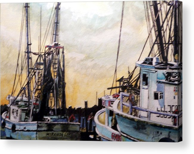 Shrimp Acrylic Print featuring the painting Swansboro Shrimp Boats by Jim Phillips