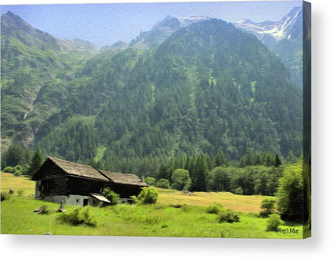 Switzerland Acrylic Print featuring the painting Swiss Mountain Home by Jeff Kolker