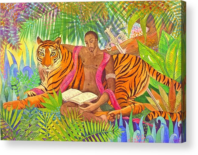 Tiger Warrior Jungle Tropical Sacred Wild Colourful Acrylic Print featuring the painting The Alchemists by Jennifer Baird