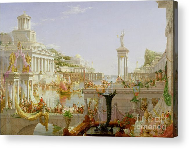 Civilisation; Ideal; Classical; Monument; Architecture; Column; Fountain; Hudson River School; The Course Of Empire: The Consummation Of The Empire Acrylic Print featuring the painting The Course Of Empire - The Consummation Of The Empire by Thomas Cole