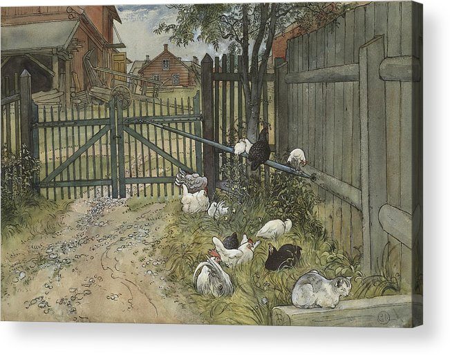 19th Century Art Acrylic Print featuring the painting The Gate. From A Home by Carl Larsson