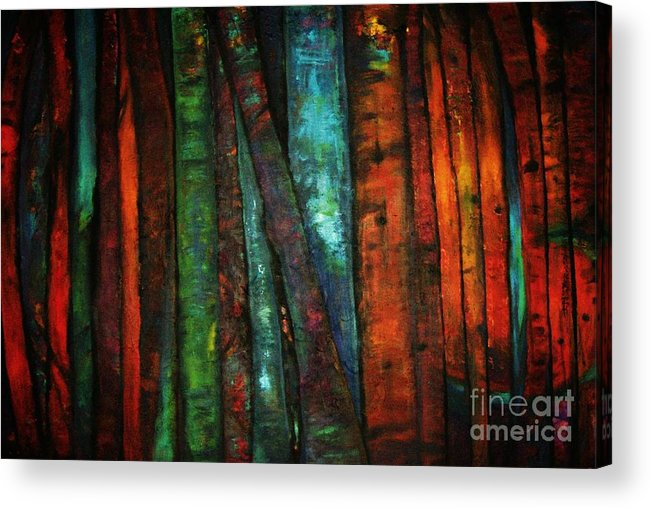 Trees Acrylic Print featuring the painting The Giants Two by Sidra Myers