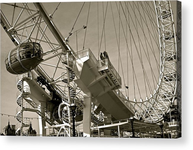 Wheel Acrylic Print featuring the photograph The London Eye In Sepia by Venetia Featherstone-Witty