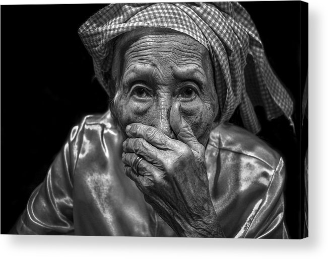 Old Woman Acrylic Print featuring the photograph The Moment Is Full Of Surprise by Son Truong