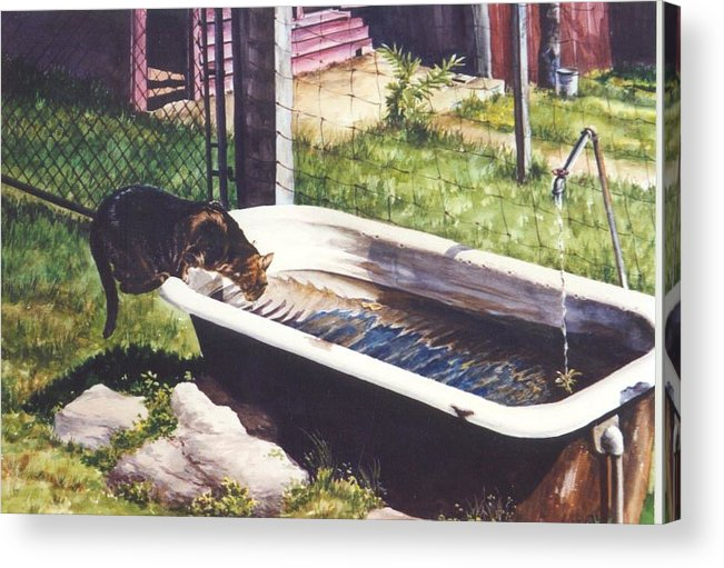 Cat Acrylic Print featuring the painting The Paws That Refreshes by Marion Hylton