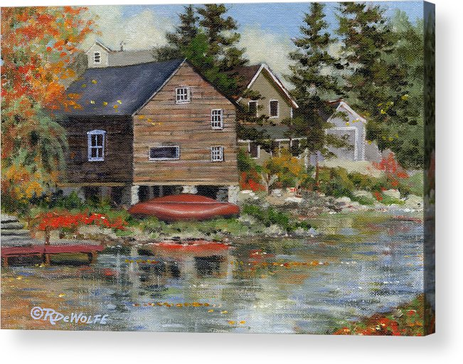 Autumn Acrylic Print featuring the painting The Red Canoe by Richard De Wolfe
