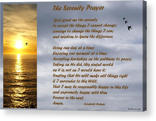 Barbara Snyder Acrylic Print featuring the digital art The Serenity Prayer by Barbara Snyder