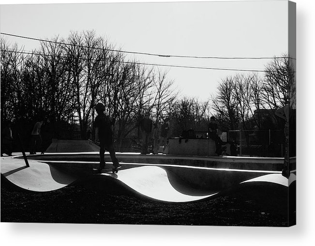 Skateboarding Acrylic Print featuring the photograph The Skateboarder by Margie Avellino
