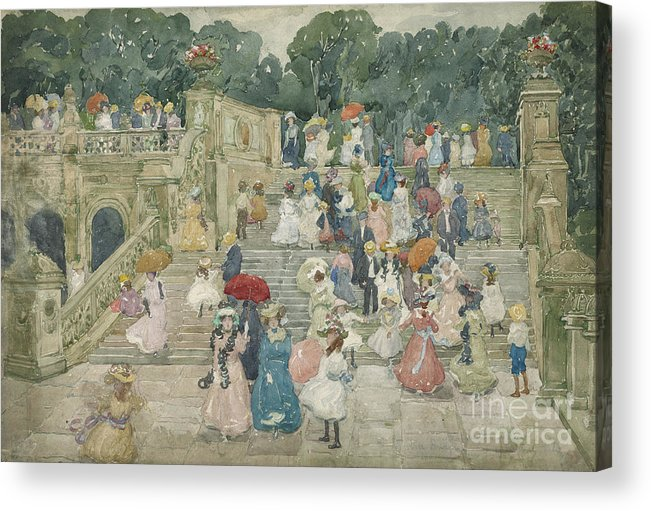The Terrace Bridge Acrylic Print featuring the painting The Terrace Bridge, Central Park by Maurice Brazil Prendergast