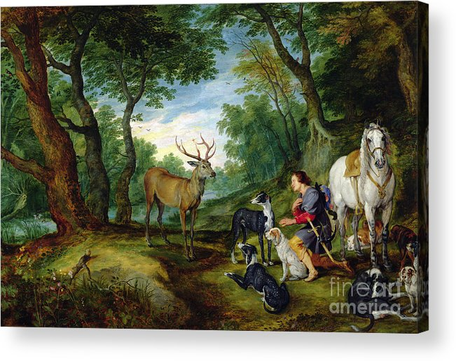 Hubert Acrylic Print featuring the painting The Vision Of Saint Hubert by Brueghel and Rubens