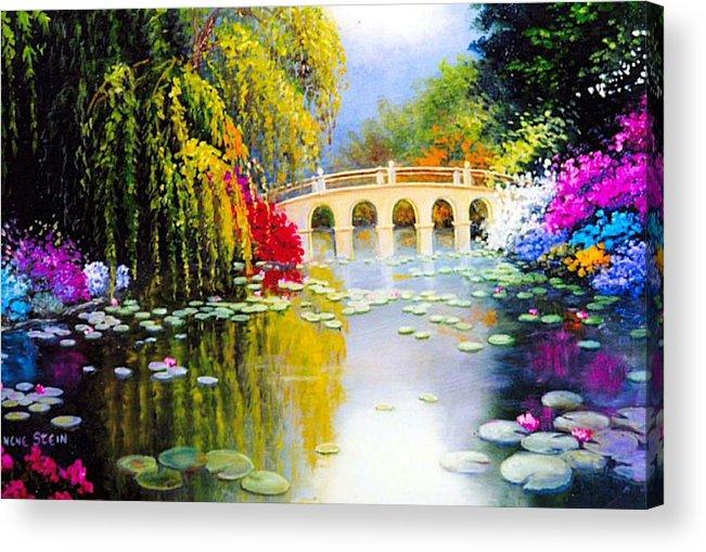 Azaleas In Bloom Acrylic Print featuring the digital art The White Bridge by Jeanene Stein