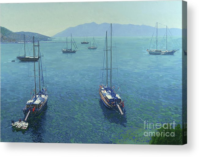 Yachts Acrylic Print featuring the painting The Yachts by Simon Kozhin
