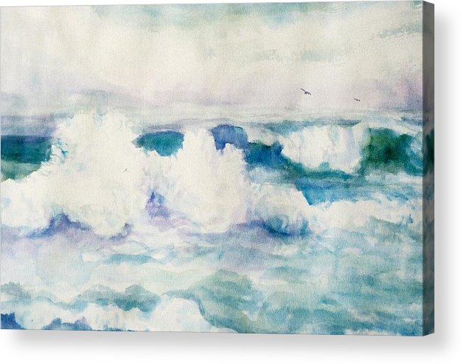 Pacific Ocean Acrylic Print featuring the painting Thundering Breakers by Ruth Mabee