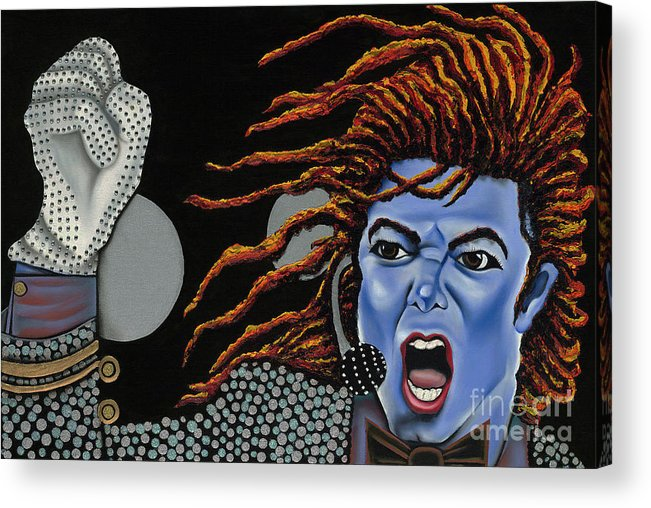 Blue Painting Acrylic Print featuring the painting Tribute To Michael by Nannette Harris