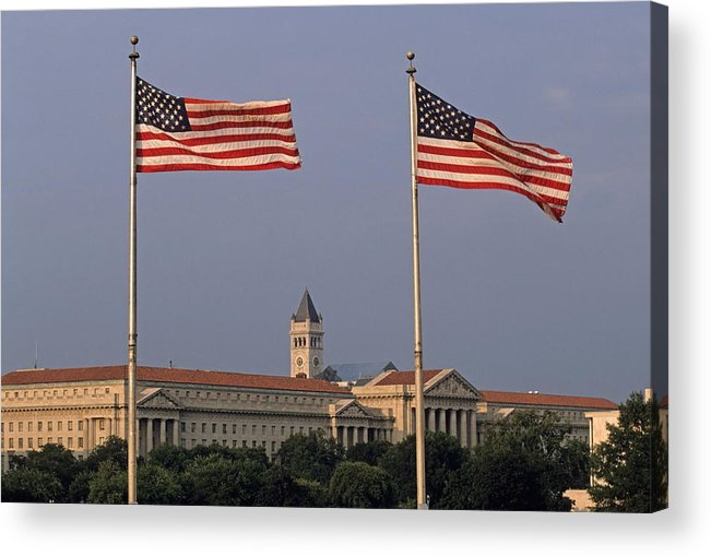 United States Of America Acrylic Print featuring the photograph Two American Flags With Old Post Office Building by Sami Sarkis