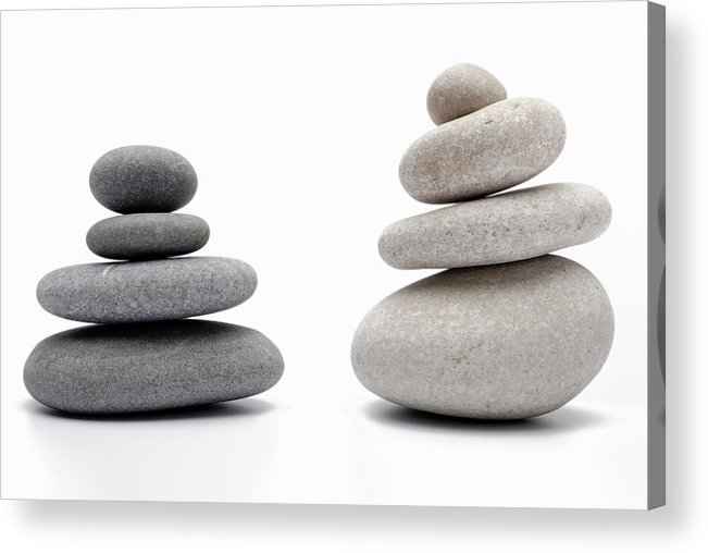 Order Acrylic Print featuring the photograph Two Stacks Of White And Gray Pebbles by Sami Sarkis