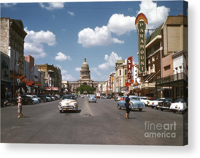 1954 Acrylic Print featuring the photograph Vintage View Downtown Austin Looking Up Congress Avenue In Front by Austin Welcome Center