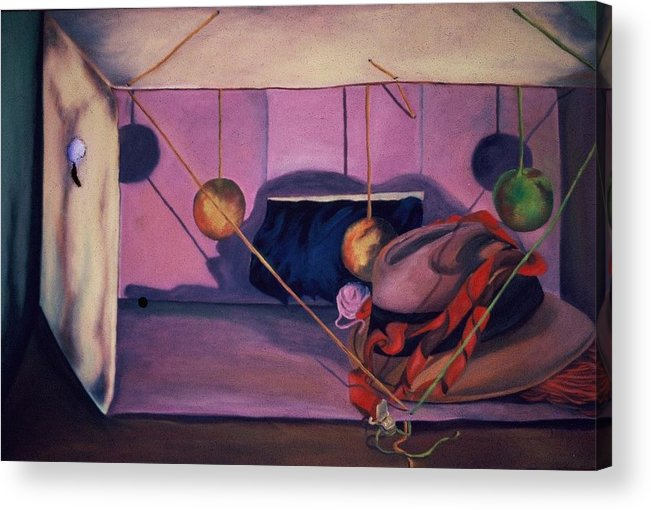 Box Acrylic Print featuring the painting Violet Box by Karen Thompson