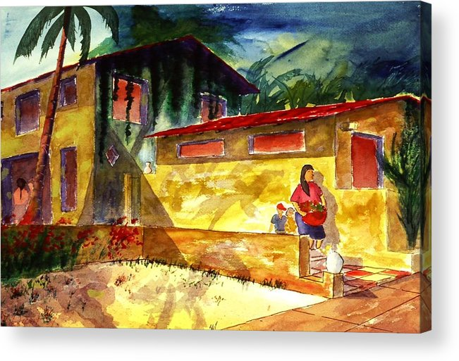 Mexico Acrylic Print featuring the painting Washer Women by Buster Dight