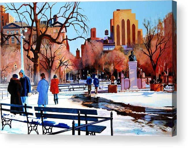 Washington Square Acrylic Print featuring the painting Washington Square by John Tartaglione