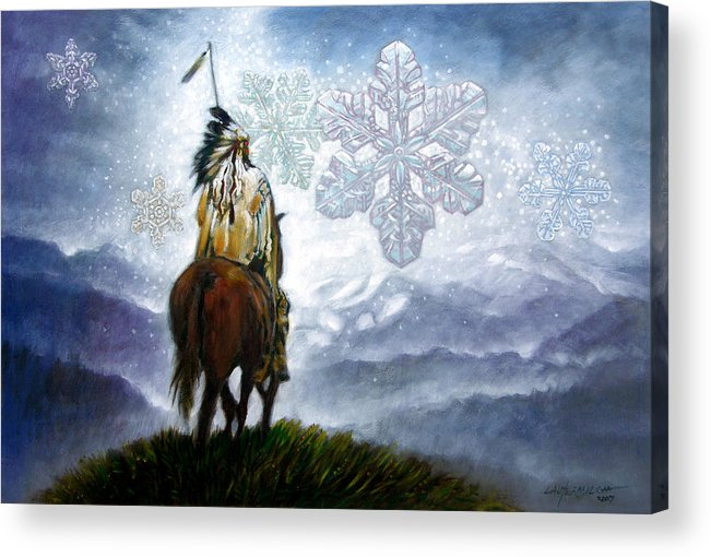 American Indian Acrylic Print featuring the painting We Vanish Like The Snow Flake by John Lautermilch