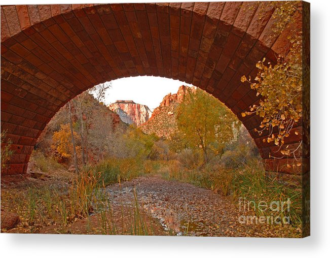 Utah Acrylic Print featuring the photograph West Temple From Pine Creek Bridge by Dennis Hammer