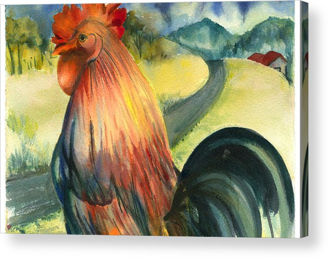 Beatiful Colos Acrylic Print featuring the painting Why Did The Rooster Cross The Road by Ileana Carreno