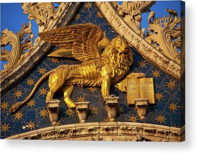 Winged Lion Acrylic Print featuring the photograph Winged Lion by Harry Spitz