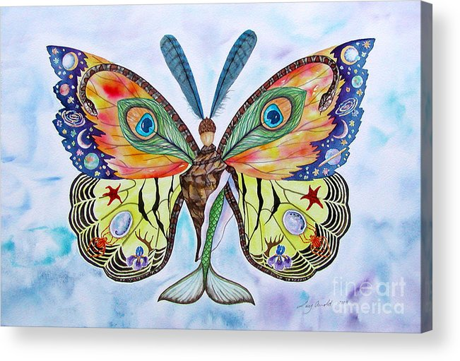 Butterfly Acrylic Print featuring the painting Winged Metamorphosis by Lucy Arnold