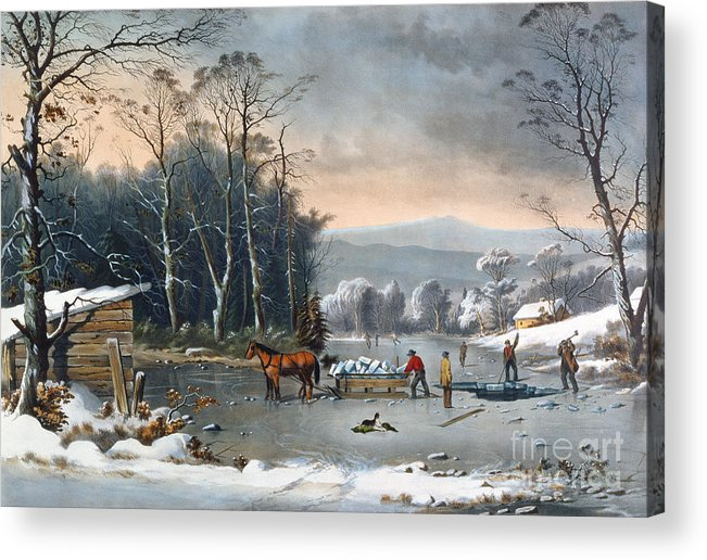 Winter In The Country Acrylic Print featuring the painting Winter In The Country by Currier and Ives