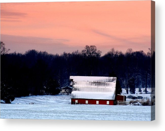 Red Barn Acrylic Print featuring the photograph Winter Morn by Diane Merkle