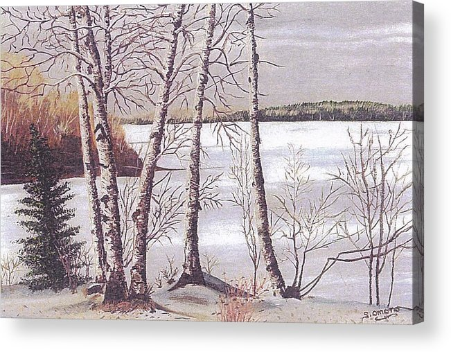Landscape Acrylic Print featuring the painting Winter Scene by Sachiko Omoto