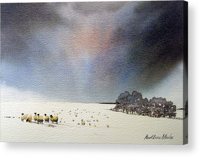 Landscape Acrylic Print featuring the painting Winter Snow Swaledale by Paul Dene Marlor