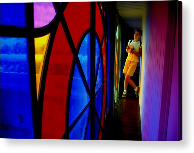 Colorful Acrylic Print featuring the photograph Woman And Stained Glass by Carl Purcell