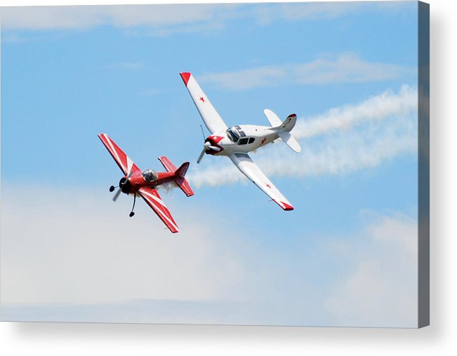 Airplanes Acrylic Print featuring the photograph Yak 55 And Yak 18 by Larry Keahey