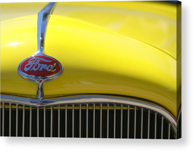 Yellow Acrylic Print featuring the photograph Yellow Ford by Jim Georgiana