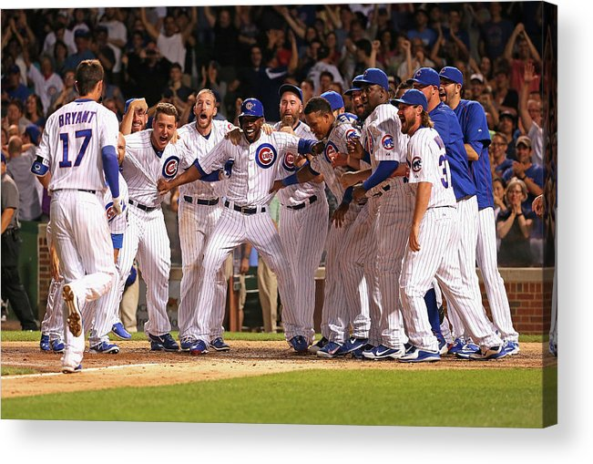 People Acrylic Print featuring the photograph Colorado Rockies V Chicago Cubs 1 by Jonathan Daniel