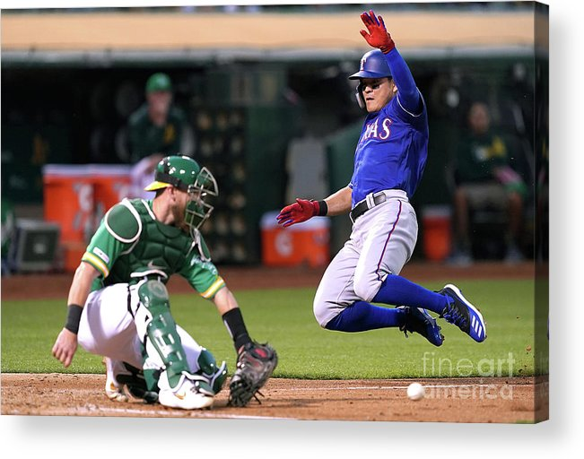 Baseball Catcher Acrylic Print featuring the photograph Texas Rangers V Oakland Athletics 14 by Thearon W. Henderson