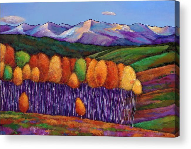 Aspen Trees Acrylic Print featuring the painting Elysian by Johnathan Harris