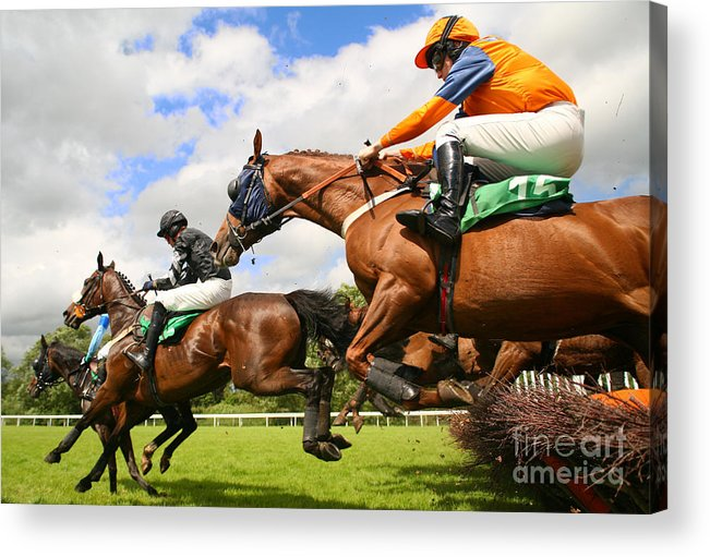 Game Acrylic Print featuring the photograph Jumping Horses by Neil Roy Johnson