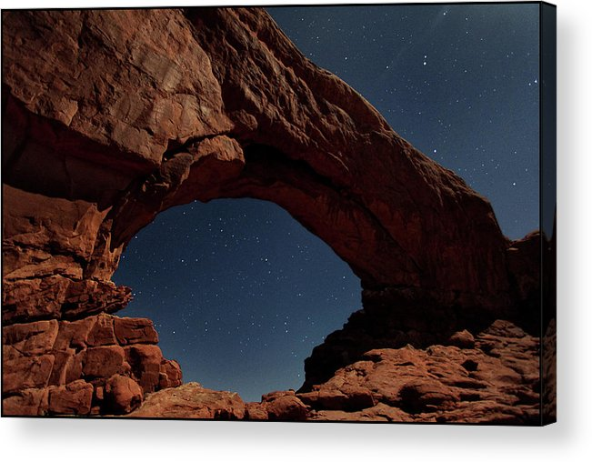Tranquility Acrylic Print featuring the photograph North Windows Arch Under Moonlight by Ayinde Listhrop