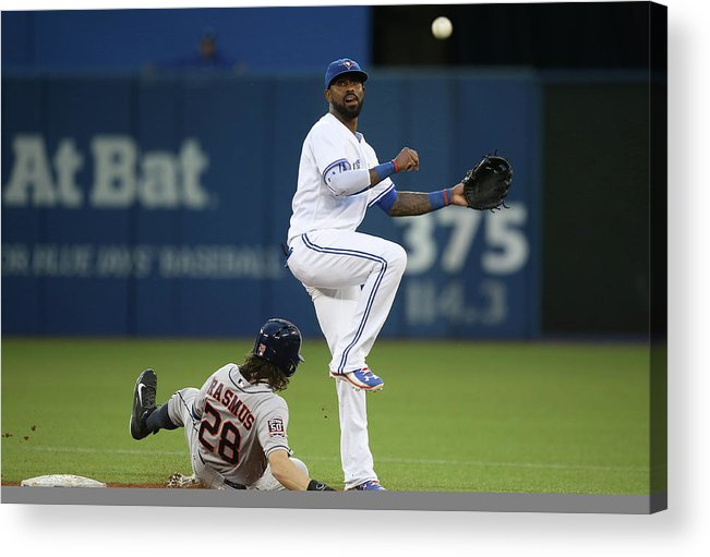 Double Play Acrylic Print featuring the photograph Colby Rasmus And Jose Reyes by Tom Szczerbowski